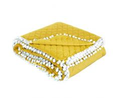 Design91 Tagesdecke Steppdecke Bettüberwurf Doppelseitig Gesteppt Muster mit Bommeln Pompon, Kunststoff, Gelb, 170x210 cm