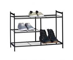 Relaxdays Schuhregal SANDRA mit 3 Ebenen, Schuhablage aus Metall, mit Stiefelfach, HBT: ca. 50,5 x 70 x 26 cm, für 8 Paar Schuhe, mit Griffen, schwarz
