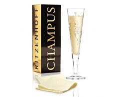 RITZENHOFF Champus Champagnerglas von Angela Schiewer, aus Kristallglas, 200 ml, mit edlen Gold- und Platinanteilen, inkl. Stoffserviette