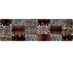 DECO-MAT Rutschfester Teppich-Läufer 80 x 250 cm ohne Rand für den Innenbereich oder Eingangsbereich, 80 x 250, braun-weiß
