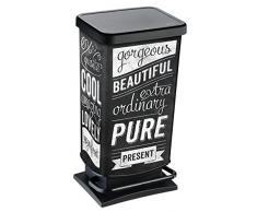 Rotho 1754110228 Mülleimer Paso, geruchsdichter Abfalleimer, Mass, Papierkorb aus Kunststoff mit Motiv, Tretmechanismus zum Öffnen Abfallbehälters, 40 L, 35,3 x 29,5 x 67,6 cm, schwarz