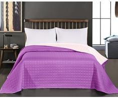 DecoKing 12185 Tagesdecke 220 x 240 cm violett rosa Bettüberwurf Kreisen zweiseitig pflegeleicht Salice