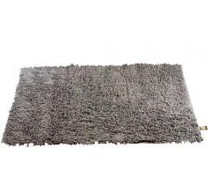 Gözze Teppich, 100% Baumwolle, Wollgarn-Hochfloroptik, 70 x 120 cm, Anthrazit, 1010-0648-72
