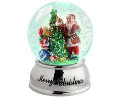 WeRChristmas Weihnachtsdekoration Santa Bär Baum Snow Globe Farbwechsel, Kunststoff, Mehrfarbig, 10 cm