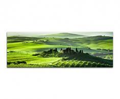 Panoramabild auf Leinwand und Keilrahmen 150x50cm Toskana Wiesen Bäume Haus Sonnenaufgang