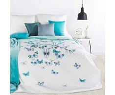 Design91 Tagesdecke Indianer-Traumfänger Muster Steppdecke Bettüberwurf Flies Schmetterlinge Größe: 200 cm x 220 cm und 170 x 210 cm Modernes Schlafzimmer Design weiß blau Farben (200 x 220 m)