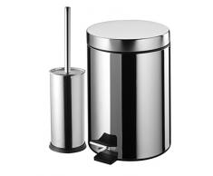 Kosmetikeimer Edelstahl 3Liter mit Pedal + WC-Bürste Edelstahl glänzend