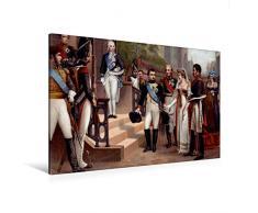 Calvendo Premium Textil-Leinwand 120 cm x 80 cm Quer, Königin Luise und Napoleon 1807 in Tilsit   Wandbild, Bild auf Keilrahmen, Fertigbild auf Echter Leinwand, Leinwanddruck Menschen Menschen