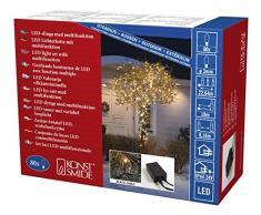 Konstsmide 3614-800 Micro LED Lichterkette / für Außen (IP44) / VDE geprüft / 24V Außentrafo / mit 8 Funktionen, Steuergerät und Memoryfunktion /80 bernsteinfarbenen Dioden / schwarzes Kabel