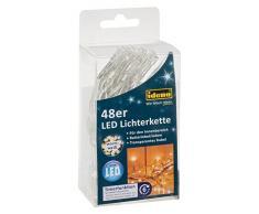 Idena 30437 LED Lichterkette mit 48 LED in warm weiß, mit 6 Stunden Timer Funktion, Batterie betrieben, für Partys, Weihnachten, Deko, Hochzeit, als Stimmungslicht, ca. 4,06 m