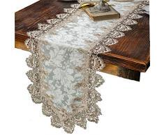 taixiuhome Modern Lace Floral bestickt Indoor Outdoor Tischläufer Tisch Flaggen für Country rustikal Party Hochzeit Home Dekoration, Spitze, braun, 15.7 x 122 inches(40 x 310cm)