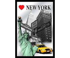 empireposter New York - Icons - Bedruckter Spiegel mit Kunststoff Rahmen, Kult-Spiegel - Größe 20x30 cm