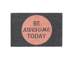Relaxdays Fußmatte Kokos Spruch BE AWESOME TODAY 40 x 60 cm Kokosmatte mit rutschfester PVC schwarz Unterlage Fußabtreter aus Kokosfaser als Schmutzfangmatte und Sauberlaufmatte Türvorleger, pink