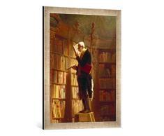 Gerahmtes Bild von Carl Spitzweg Detail. Der Bücherwurm, Kunstdruck im hochwertigen handgefertigten Bilder-Rahmen, 50x70 cm, Silber Raya