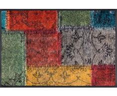 wash+dry Fußmatte Vintage Patches, 75x50 cm, innen und außen, waschbar, bunt
