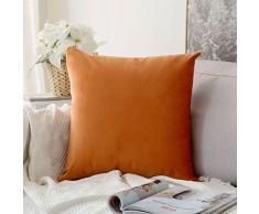 MIULEE 2 Stück, SAMT Weiches Solide Dekorativen Überwurf Kissenbezüge Set, quadratisch Kissen für Sofa Schlafzimmer Auto 24x24 Velvet Orange