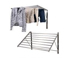 Brightmaison Wäscheständer, Edelstahl, Wandmontage, faltbar, zusammenklappbar, ca. 6,5 m Trockenkapazität