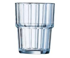 Arcoroc ARC 61697 Norvege Wasserglas, Saftglas, stapelbar, 250 ml, Glas, transparent, 6 Stück