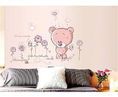 ABC - Kinderzimmer Wandaufkleber Niedlicher Rosa Teddybär 50cm x 70cm