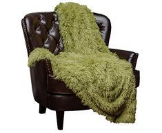 Chanasya Super Weichen Langen Shaggy Fuzzy Fell Webpelz warm elegant Cozy mit Flauschiger Sherpa Chic Überwurf Decke – Farbe Shaggy Kunstpelz, Polyester, grün, 50x65 Inches