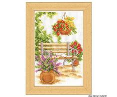 Vervaco Miniatur Auf der Gartenbank Zählmusterpackung-Kreuzstichbild, Baumwolle, Mehrfarbig, 8 x 12 x 0.3 cm
