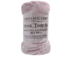 Luxus Kunstfell groß Heather Mink Fleece Überwurf über Sofa Bett Weiche Warme Decke, Heather, King - 200 x 240xm