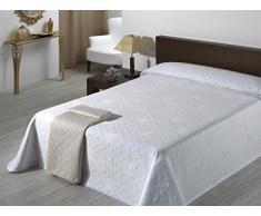 SABANALIA Giovanna Überwurf aus Piqué, Baumwolle, Elfenbein, Pour lit de 105 cm