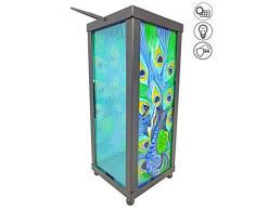 ABC Home Garden Laterne Gartenlaterne Solarlaterne LED Solarbetrieben Ein-& Ausschalter Lichtsensor, Metall, mehrfarbig, 11 x 12 x 41 cm