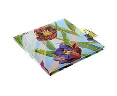 Goldbuch Tagebuch, Tulips, 96 weiße Seiten, 16,5 x 16,5 cm, Schloss mit 2 Schlüsseln, Kunstdruck mit Goldprägung und Relief, Blau, 44307