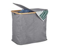 Relaxdays Wäschekorb mit Deckel, Faltbarer Wäschesammler, Bambus & Stoff, Wäschesortierer mit 2 Fächern, 74 Liter, grau