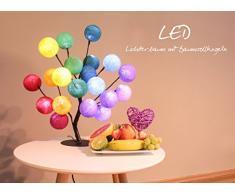 CREATIVECOTTON LED Baum mit Cotton Balls, innen - Lichterbaum inkl. Timer und Dimmer (Regenbogen)