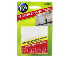 Glue Dots Flexible Hang Tabs, Durchsichtige Klebestreifen, 24 Stück, Ablösbar, zum Aufhängen von Deko, Ballons, Lichterketten, Partydeko und Girlanden, für viele Oberflächen geeignet