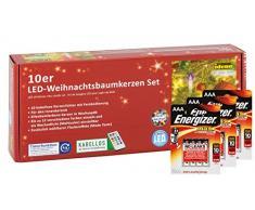 Idena LED Christbaumkerzen, 10er Set, kabellos, multicolor, ca. 9 cm, inklusive Fernbedienung und Energizer Premium Alkaline Batterien, 10112552