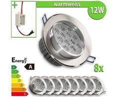 LEDVero 8x LED Einbaustrahler Einbauleuchte 8-er Set 12 W rund, warmweiss EBL158