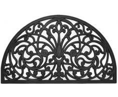 oKu-Tex Fußmatte Türvorleger Fußabtreter Gummi Gusseisen Optik Ornamente Relief für außen 45 x 75 cm schwarz halbrund