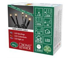 Konstsmide 6350-820 Micro LED Lichterkette/für Innen (IP20) / VDE geprüft / 24V Innentrafo / 10 bernsteinfarbene Dioden/schwarzes Kabel