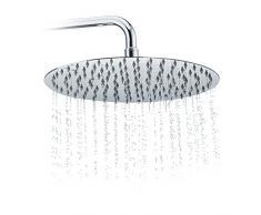 Relaxdays Duschkopf Regendusche rund, 300 mm, Edelstahl, Spiegeleffekt, Hochglanz, rain shower 1/2 Zoll, silber