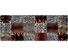 DECO-MAT Rutschfester Teppich-Läufer ohne Rand für den Innenbereich oder Eingangsbereich, 80 x 200 cm, afrika / braun-weiß