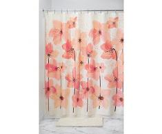 InterDesign Blossom Duschvorhang | 183,0 cm x 183,0 cm großer Badewannenvorhang | Designer Duschvorhang aus weichem Stoff | Polyester pink