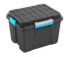 Kiss Kis Aufbewahrungsbox Scuba Box 43 Liter in schwarz-blau, Plastik, 59.5x39x34 cm