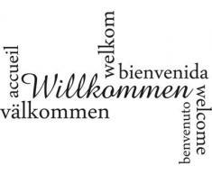 Graz Design 720447_57_070 Wandtattoo Wandaufkleber Wand Deko Eingang Flur Willkommen viele Spachen (Größe=79x57cm//Farbe=Schwarz)