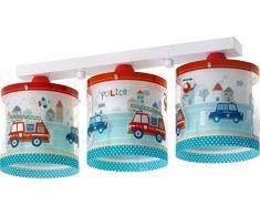Dalber Deckenlampe Kinder 3 Lichter Police Polizei Autos, Plastik, blau, 51 x 15 x 20.5 cm