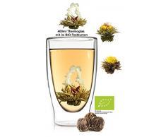 Feelino 1x 400ml XL doppelwandiges Thermoglas + 3X Bio-Teeblumen aus weißem Tee mit natürlichen Blüten/doppelwandiges Thermo Glas mit Schwebe-Effekt