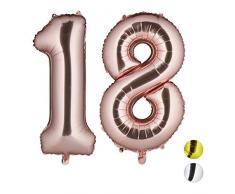 Relaxdays Folienballon Zahl 18, Partydeko für 18. Geburtstag, XXL Riesenluftballon für Luft & Helium, 85-100cm, roségold