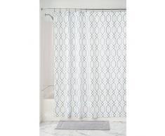 InterDesign Lattice Textil Duschvorhang | 183 cm x 183 cm Duschabtrennung für Badewanne und Duschwanne | Vorhang aus Stoff mit dezentem Muster | Polyester mint/grau
