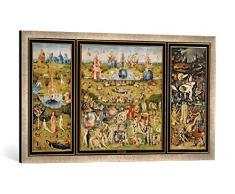Gerahmtes Bild von Hieronymus Bosch Der Garten der Lüste, Kunstdruck im hochwertigen handgefertigten Bilder-Rahmen, 100x50 cm, Silber Raya