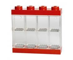 LEGO Minifiguren-Schaukasten für 8 Minifiguren, Stapelbare Wand- oder Tischbox, rot