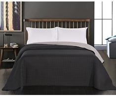 DecoKing 15230 Tagesdecke 260 x 280 cm schwarz Stahl Silber anthrazit grau Bettüberwurf zweiseitig Steppung Black Silver Paul