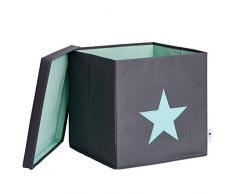STORE,IT 672241 Ordnungsbox mit Deckel, grau mit Mintgrünem Stern, MDF verstärkt, Polyester/ MDF, Grau/ Mint, 33 x 33 x 33 cm