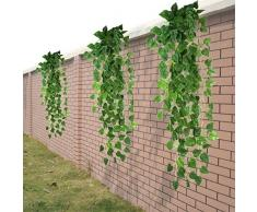 HugeStore 90cm Kunstpflanze Künstliche Weinrebe Blätter Künstlicher Efeu Hänger Efeugirlande Pflanze Deko 1 Stück
